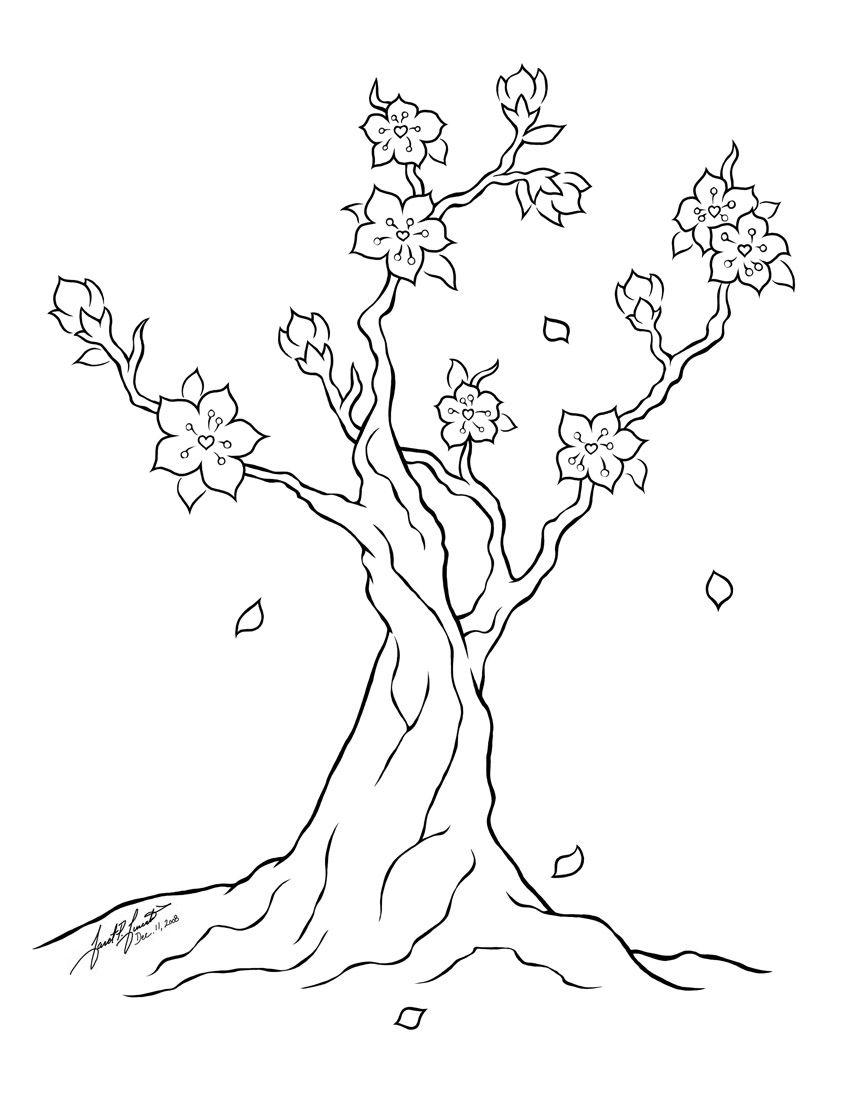Cherry Blossom Tree Line Art By Pulsedragon On Deviantart Ilustrasi Bunga Gambar Seni Garis Bunga