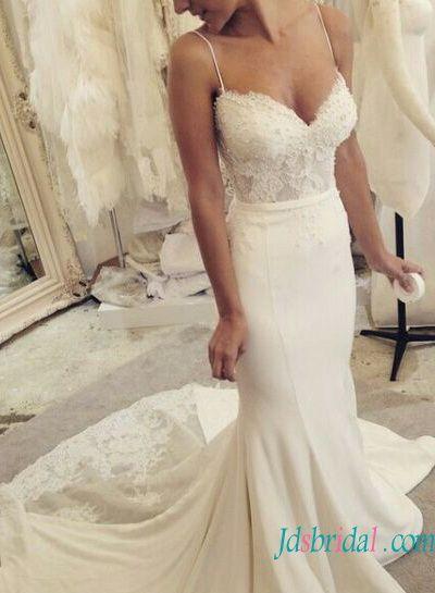 H1583 Elegant Tight Mermaid Wedding Dress With Spaghetti Straps Wedding Dresses Satin Wedding Dresses Spaghetti Strap Wedding Dress
