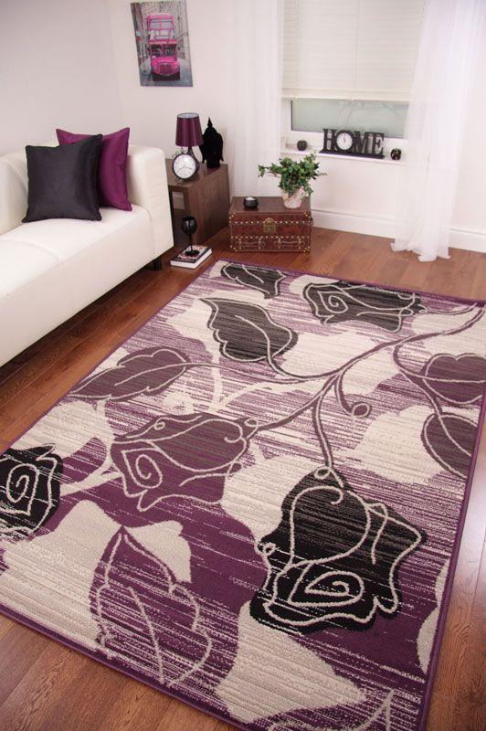 Purple Grey Mottled Flower Modern Shiraz Rug Quality Carpet Mats Large Purple Living Room Purple Room Decor Quality Carpets