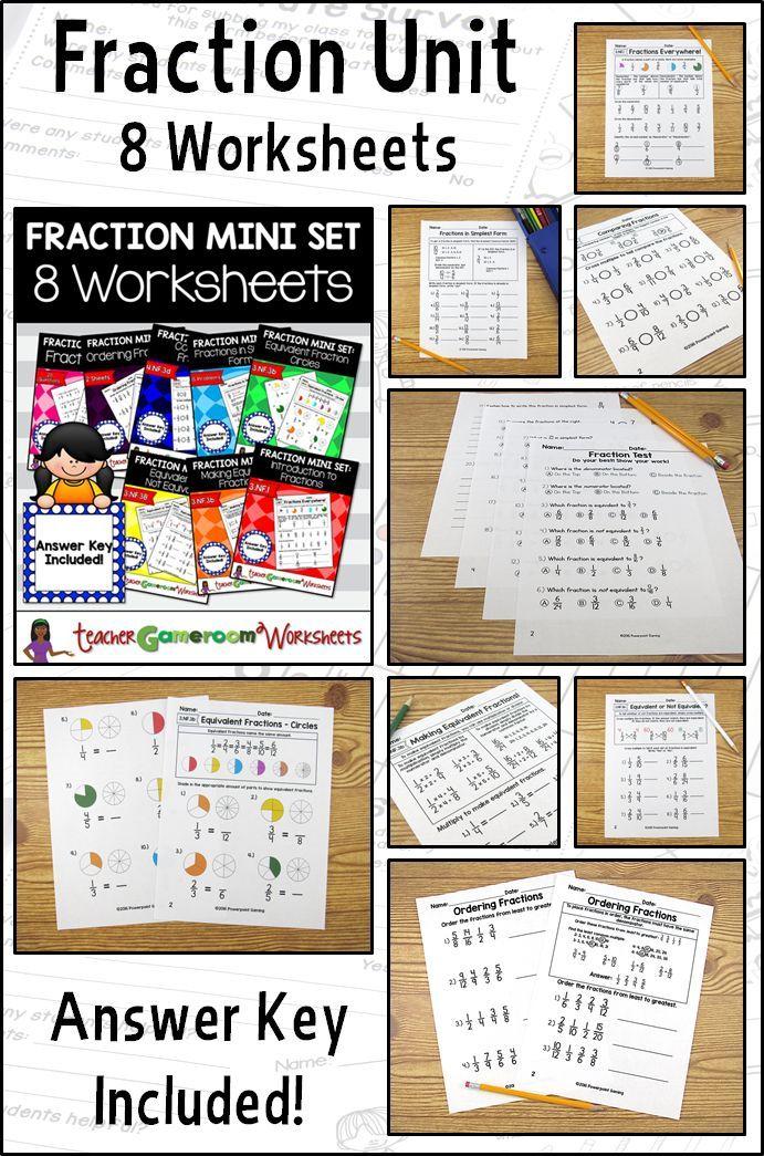 Fraction Mini Worksheet Set Bundles Fractions Fractions