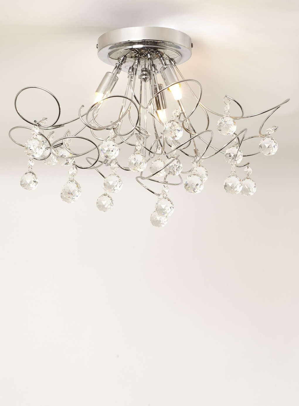 Twirling anushka flush ceiling light chrome bhs lighting twirling anushka flush ceiling light chrome bhs mozeypictures Image collections