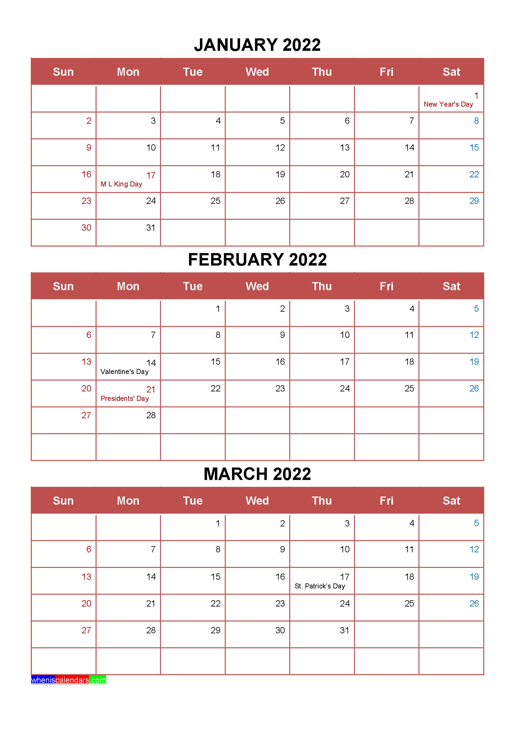 Free January February March 2022 Calendar With Holidays Four Quarters In 2020 January February March Calendar Printables Holiday Printables