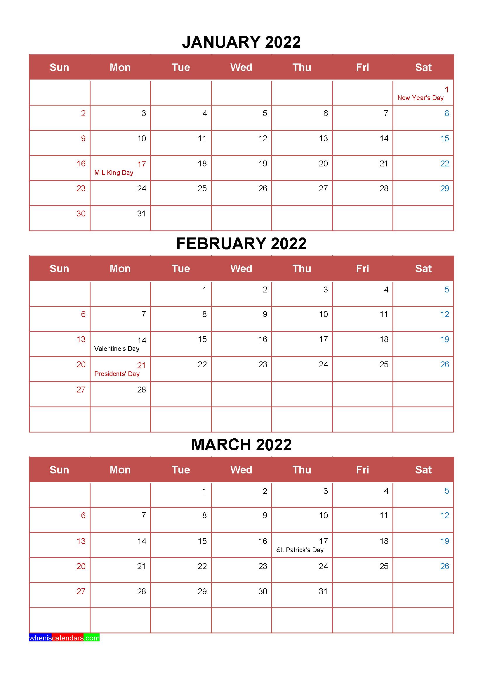 January February March 2022 Calendar.Free January February March 2022 Calendar With Holidays Four Quarters Calendar Printables Free Printable Calendar Templates Calendar Template