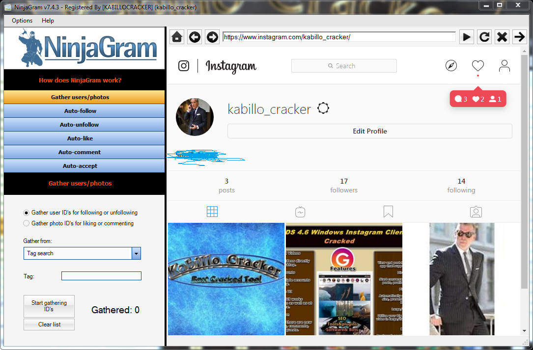 NinjaGram V 7 4 6 Cracked - Instagram Bot | Cracking
