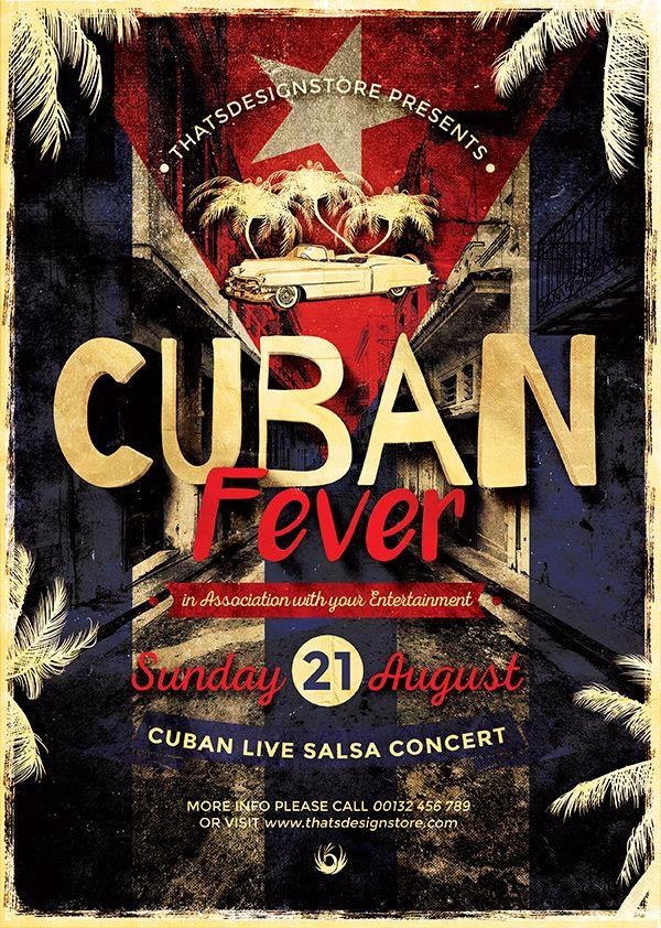 Salsa Latin Cuban Fever Flyer Template For Photoshop Flyer Flyer Template Professional Business Card Design
