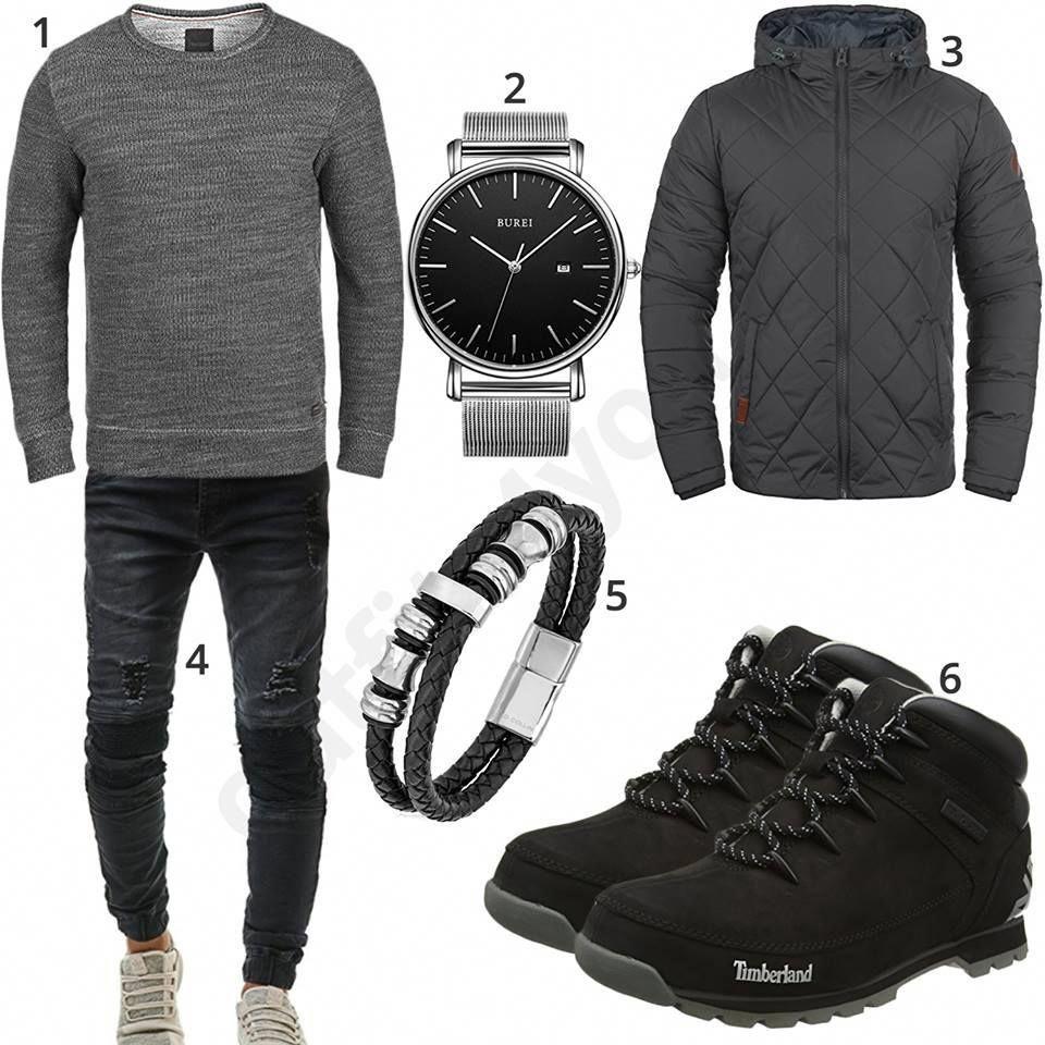 sale retailer 3b4f3 937c3 Schwarz-Graues Herrenoutfit mit Boots und Jeans #boots ...
