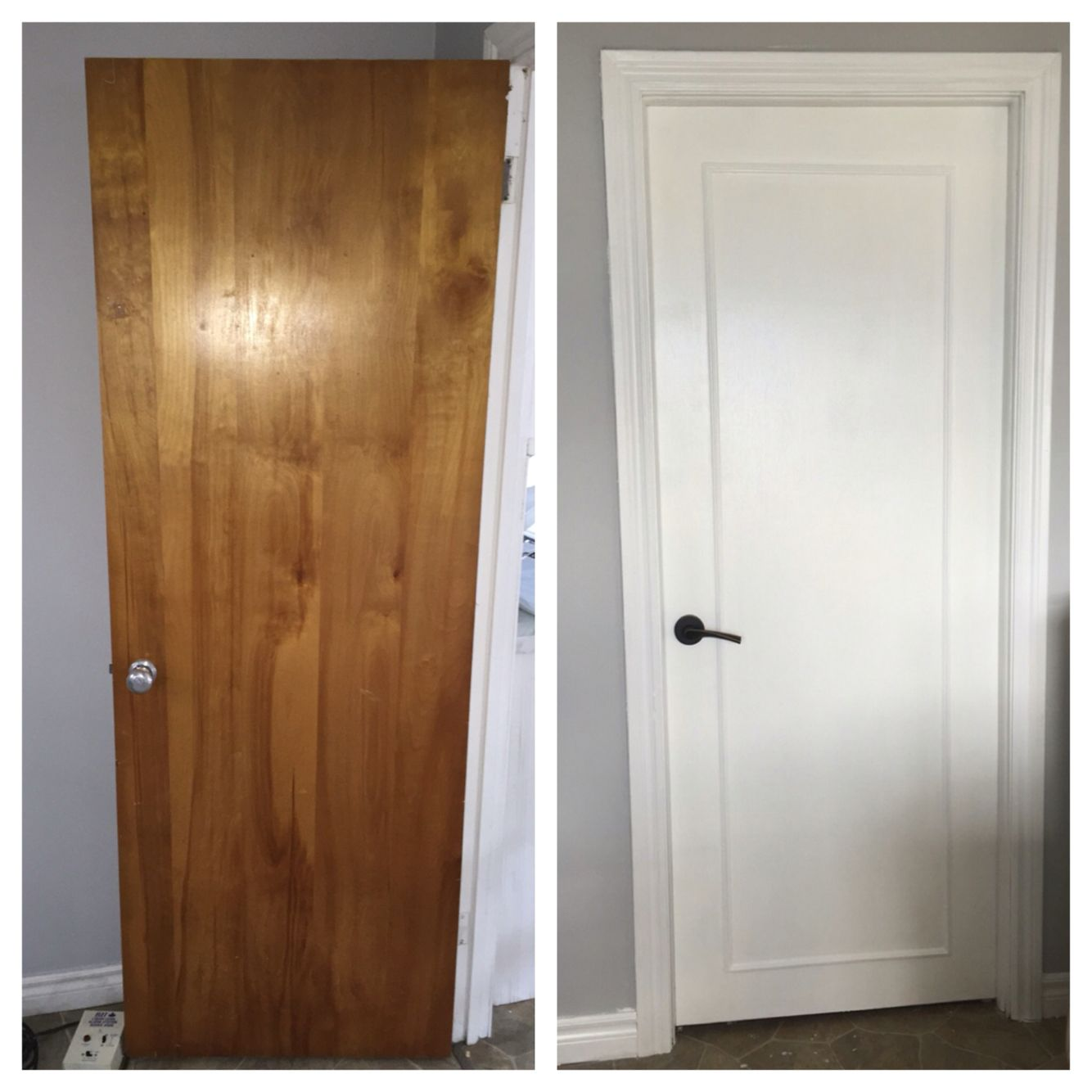 updated old wood doors to a modern look with wood trim primer white pearl paint and new