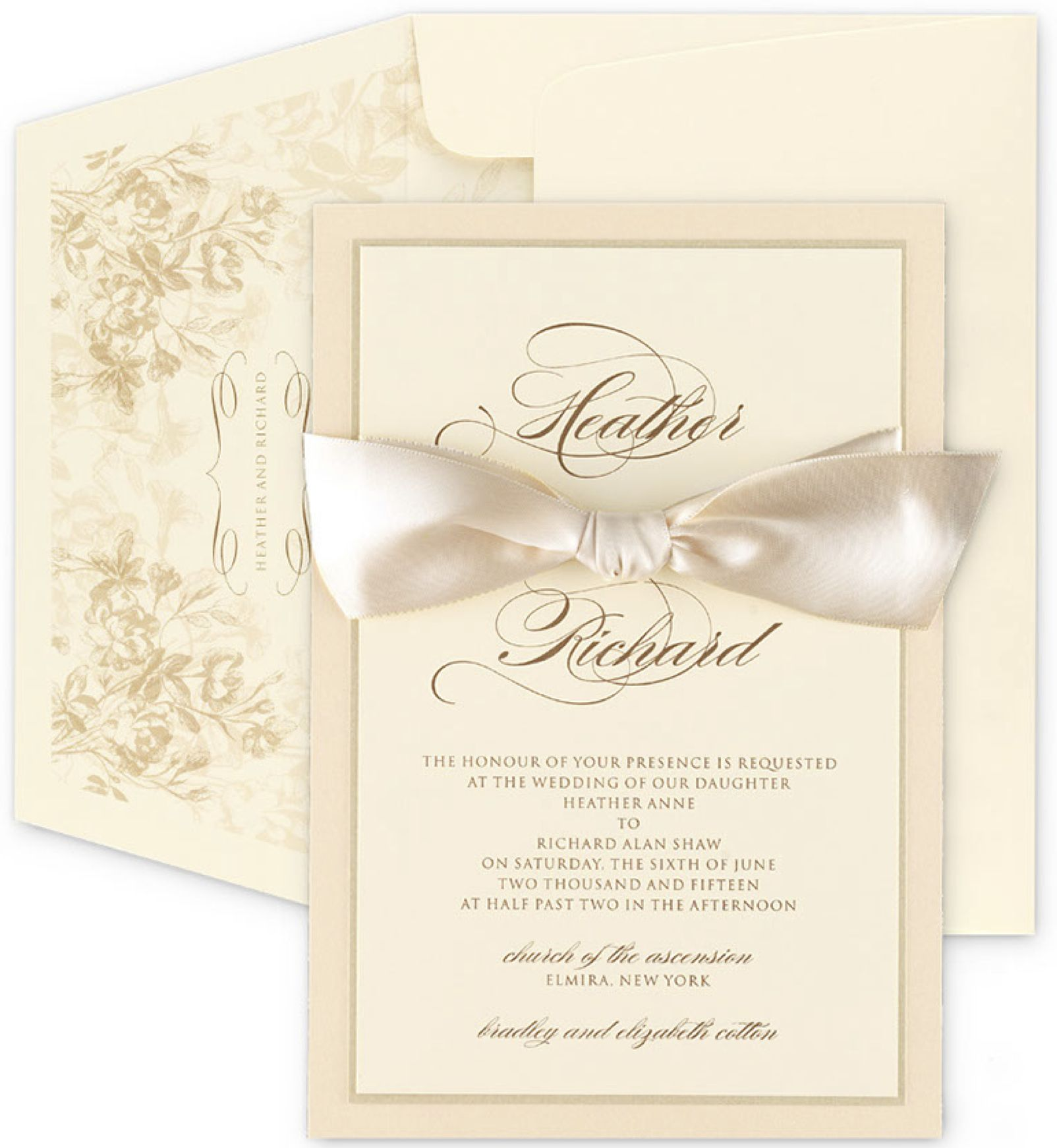 Traditional Ivory Wedding Invitation With Cream Ribbon From Checkerboard
