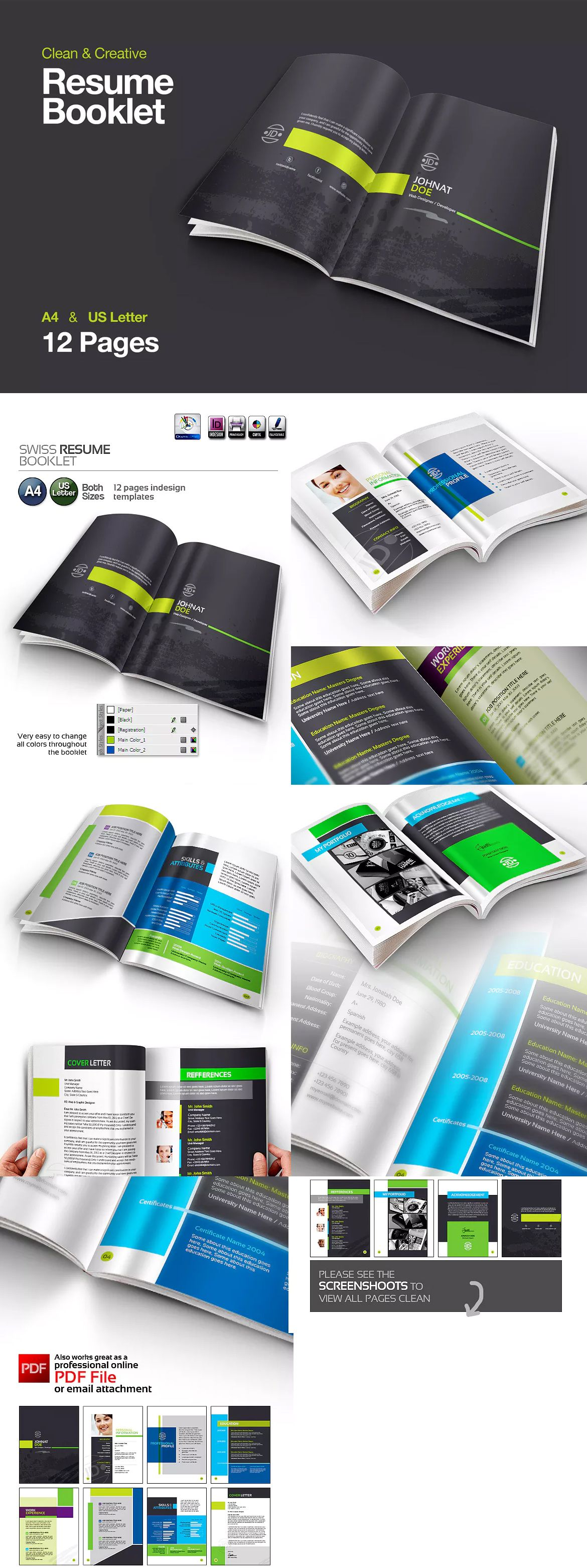 Swiss Resume Booklet Template Indesign Indd A And Us Letter Size