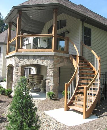Exterior stairs don\'t have to be boring. Dress up your deck with ...