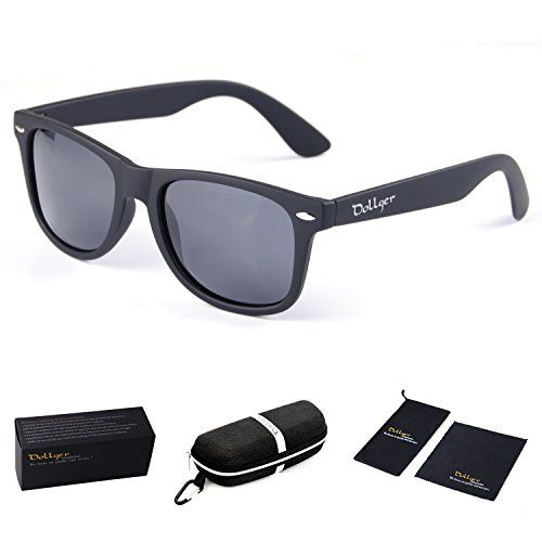 a2977148479 Dollger Classic Polarized Wayfarer Sunglasses Horn Rimmed Frame Reflective  Mirror Lens (Black Lens+Matte Black Frame)
