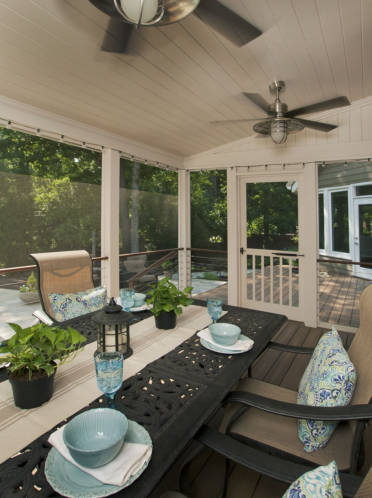 Screened Back Porch Designed And Built By Atlanta Decking Fence Porch Design Outdoor Living Space Design Backyard Porch