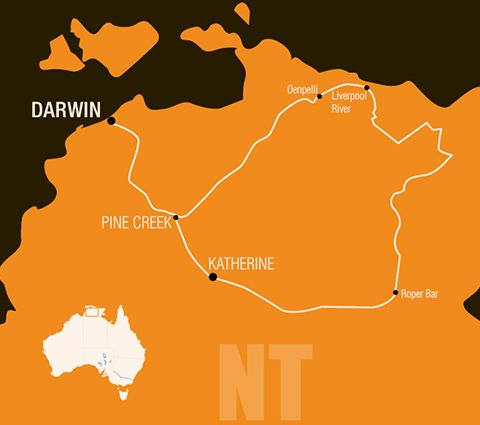 Map outlining the expedition in 1928 in the Northern Territory The