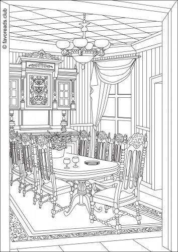 Victorian Dining Room Coloring Page