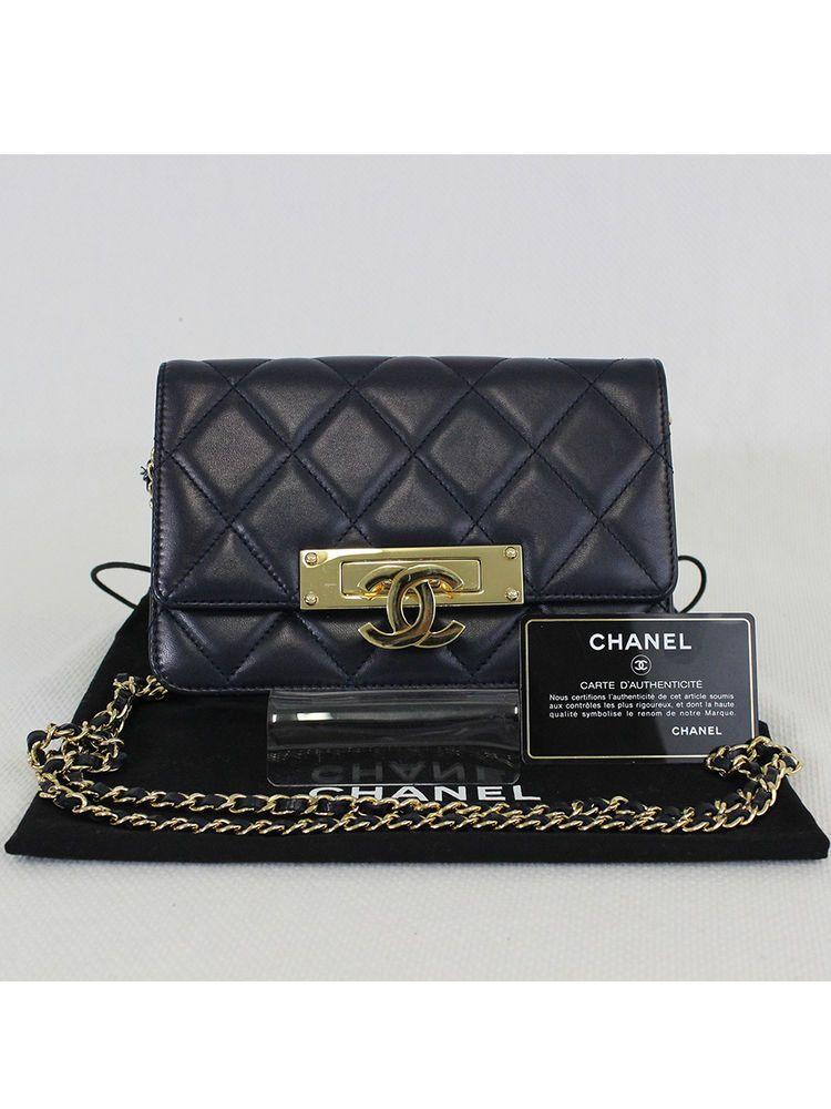 06bee1e5a8de7e Authentic CHANEL Navy Blue Lambskin Leather Golden Class Wallet on Chain  (WOC) #CHANEL #CrossBodyBag