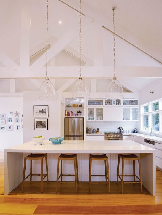 Pendant Lighting For Cathedral Ceiling Coastal Kitchen Design Kitchen Inspiration Design Vaulted Ceiling Lighting