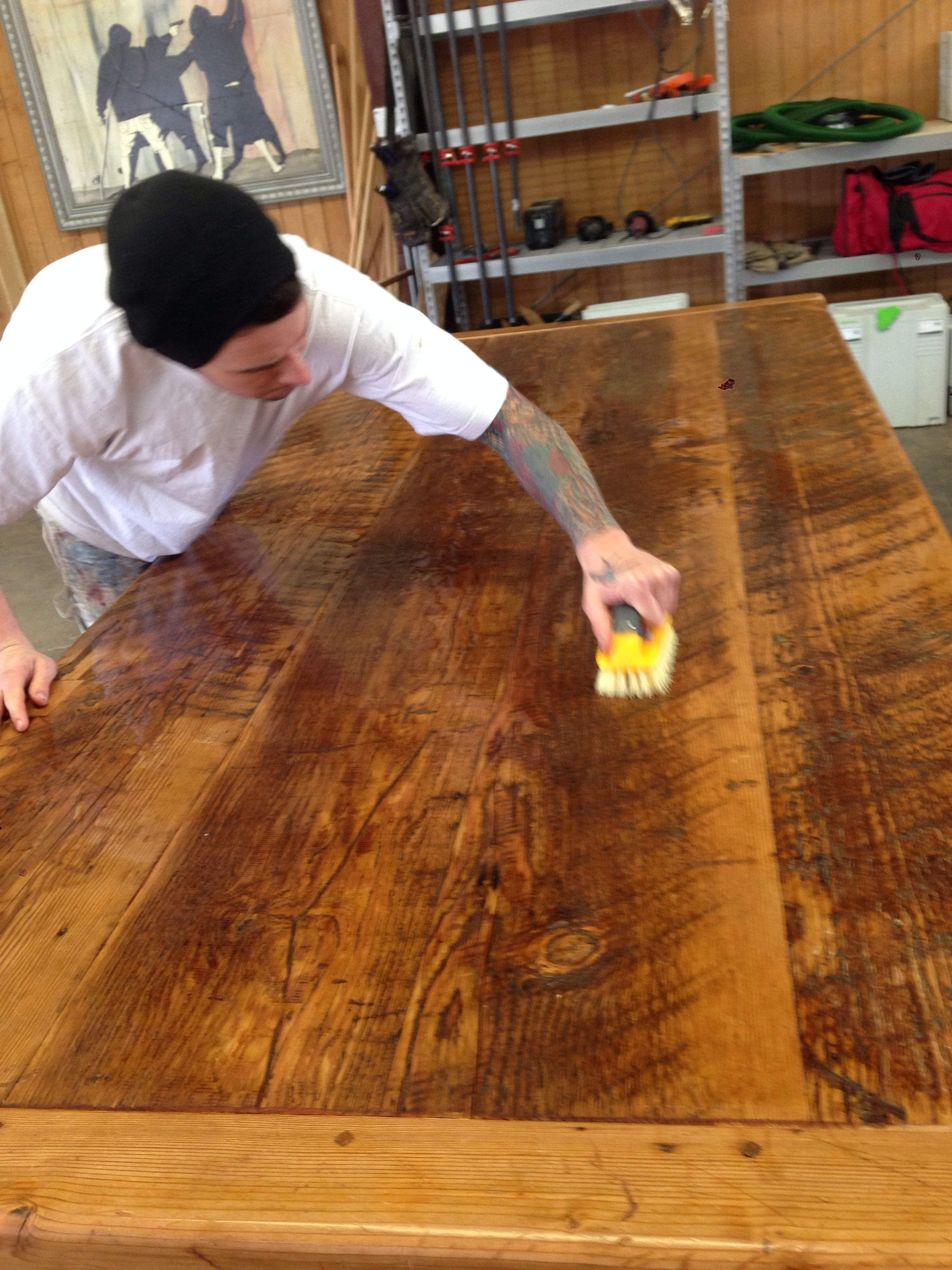 Scrubbing With Tsp Before The Oil Finish Bitacora Algunas  # Bitacora Muebles