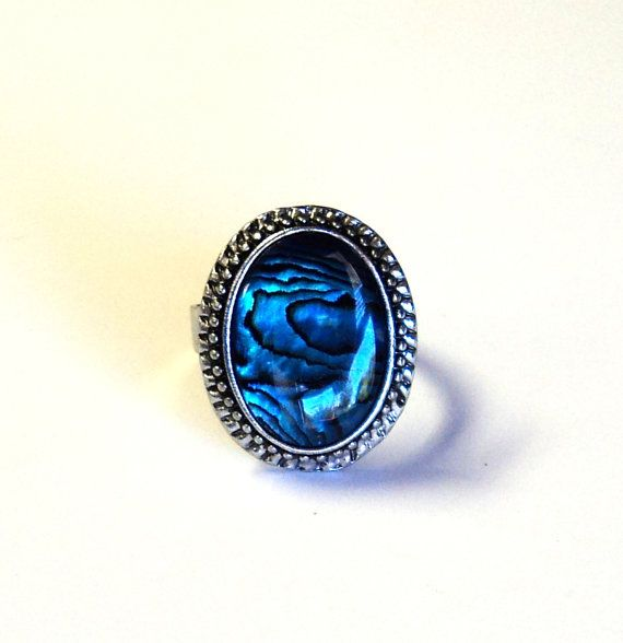 Ring Adjustable Antique Silver Fancy Oval by TAKUniqueDesigns