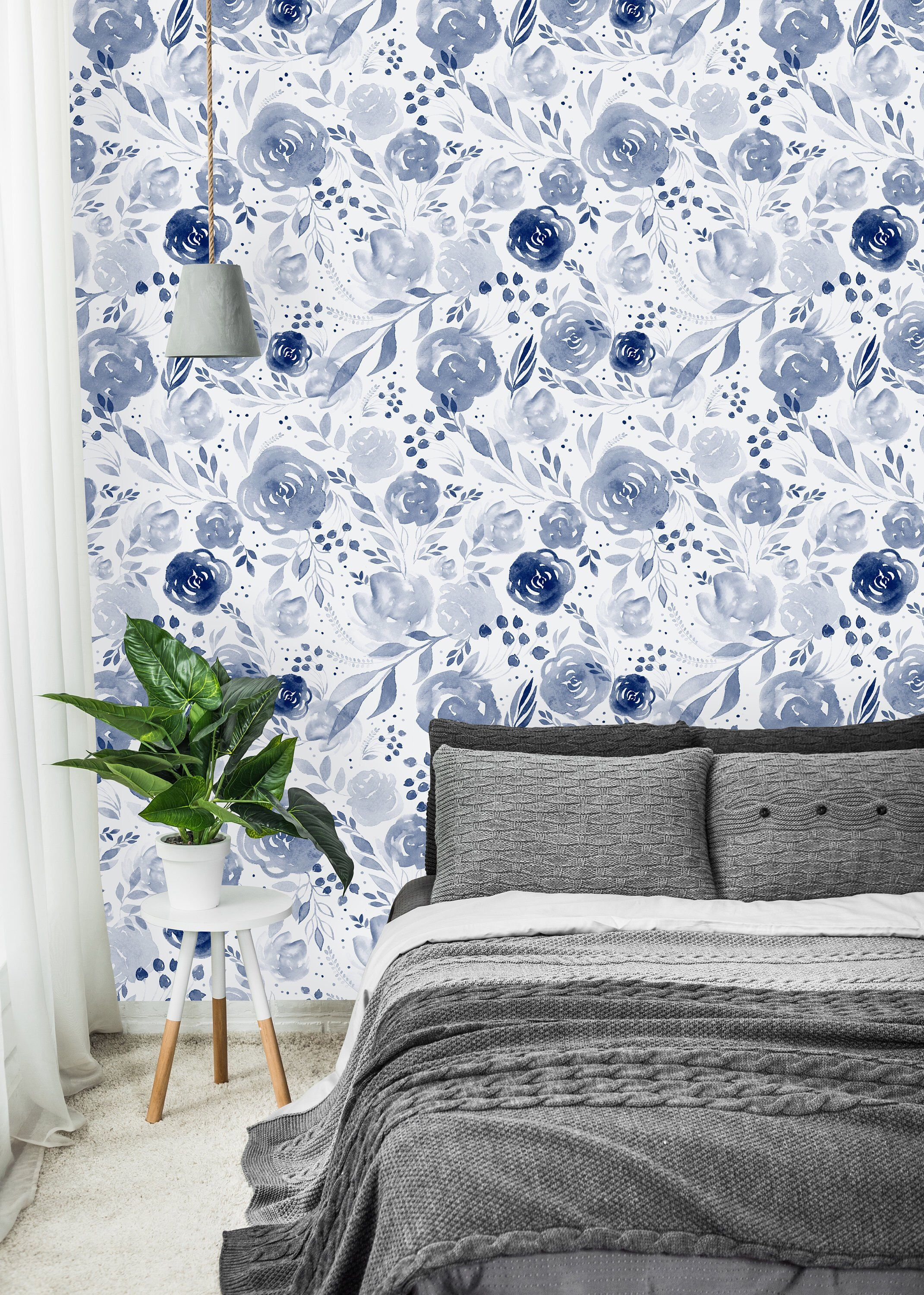 Blue Watercolor Flowers Background Removable Wallpaper Peel And
