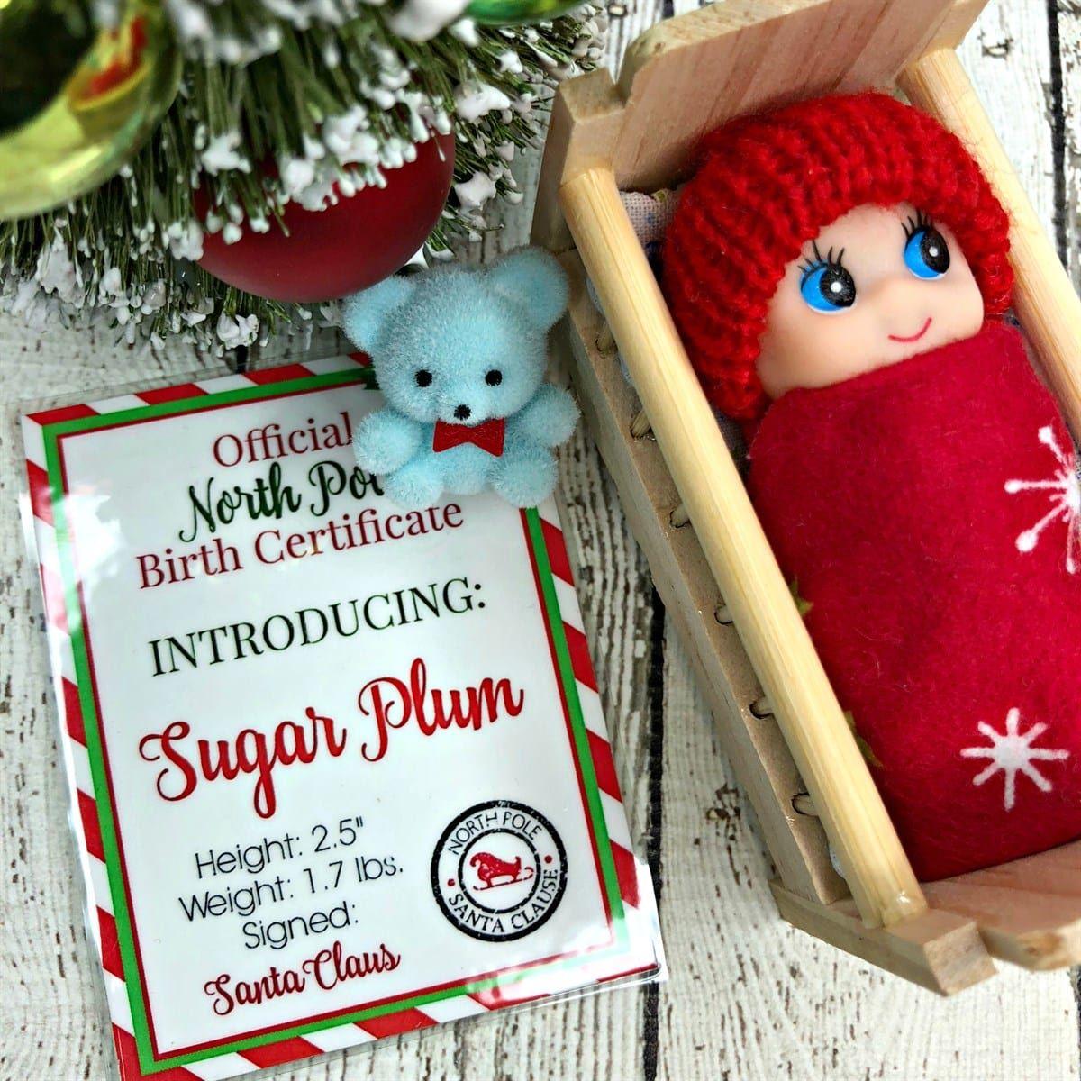 Christmas Elf Baby W Birth Certificate Crib Christmas Elf