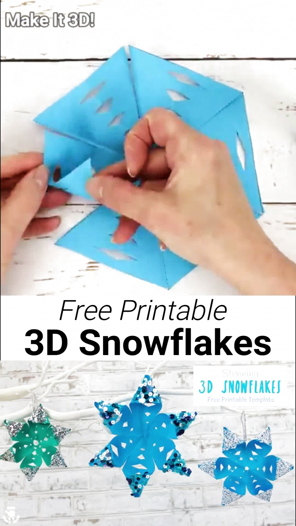 STUNNING 3D SNOWFLAKE CRAFT - perfect for hanging on the Christmas tree or for Winter themed fun! A Winter craft with a difference! To keep things super simple weve got a free printable template for you, available in 3 different sizes. Start your Winter paper craft today! #kidscraftroom #snowflakes #snowflakecrafts #christmas #ornaments #christmascrafts #wintercrafts #winteractivities #snow #kidscrafts #papercrafts #kidscraftroom