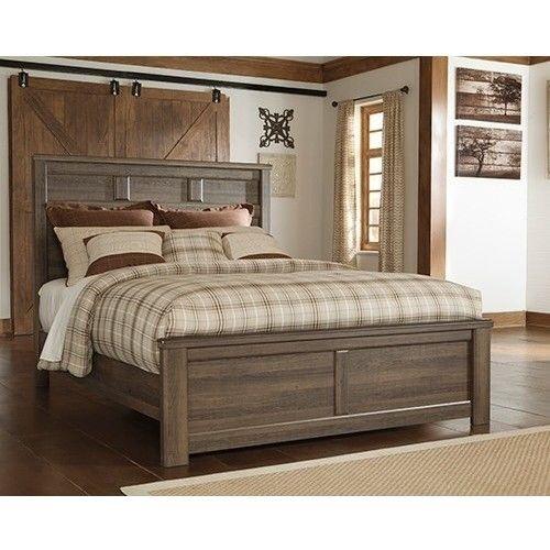 Juararo Vintage Queen Bed Frame In Dark Brown Panel Bed Bedroom