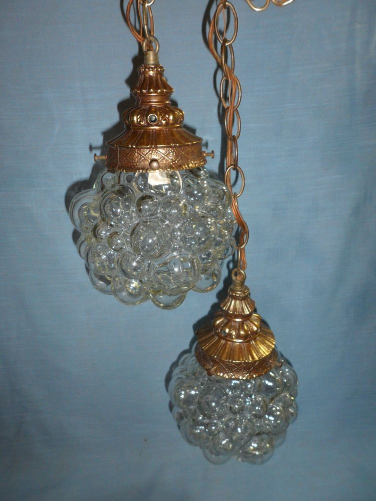 Vintage twin grape bubble cluster clear glass hanging swag collectible ceiling light fixtures ebay aloadofball Choice Image
