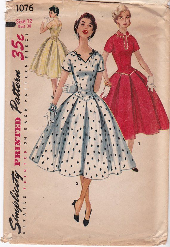 bf515ae9ac FF RARE 1950s Junior Misses' Full Skirt Pleated Dress Pattern Vintage Sewing  Pattern, Simplicity 107