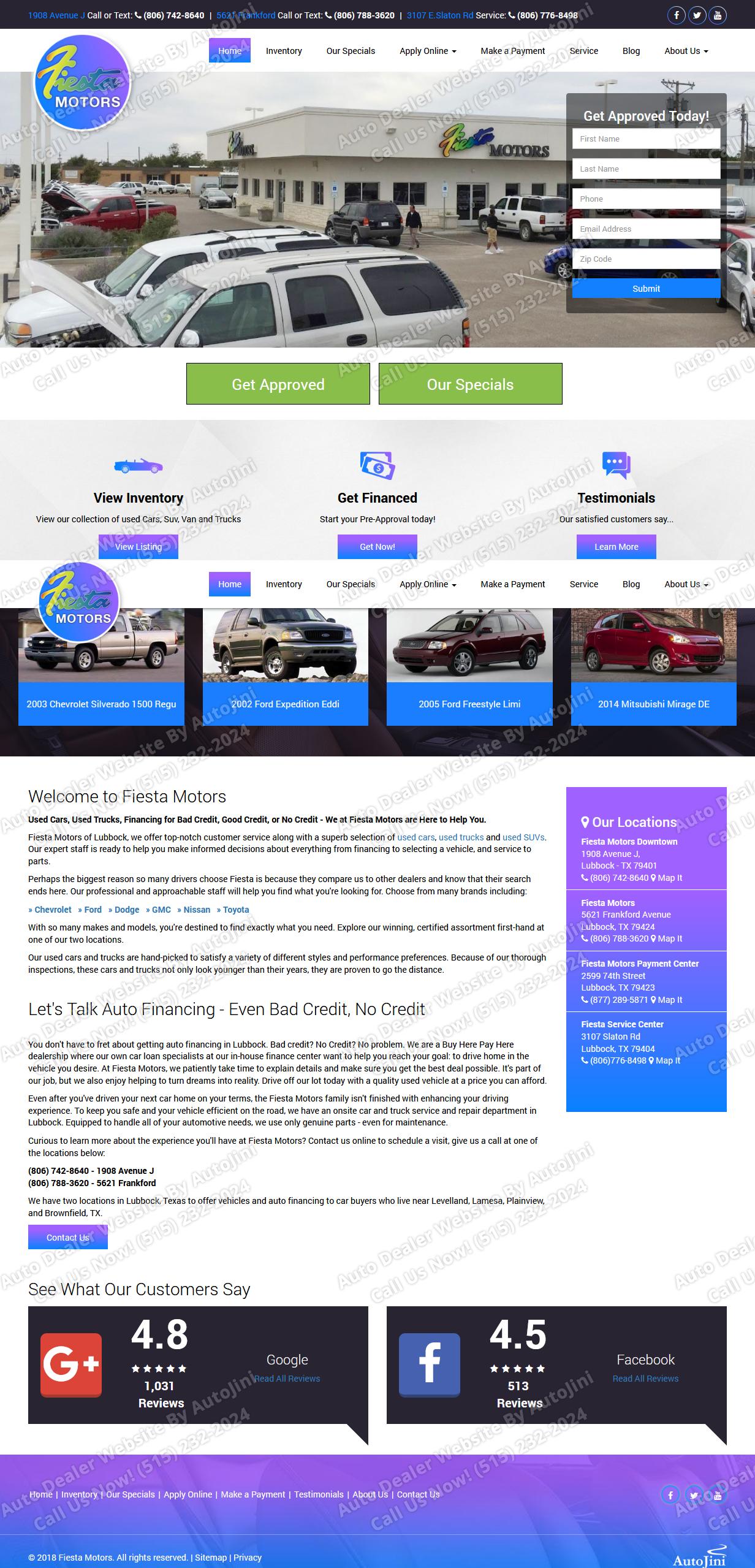Fiesta Motors Website Design By Autojini Com Car Dealership Car Finance Car Dealer