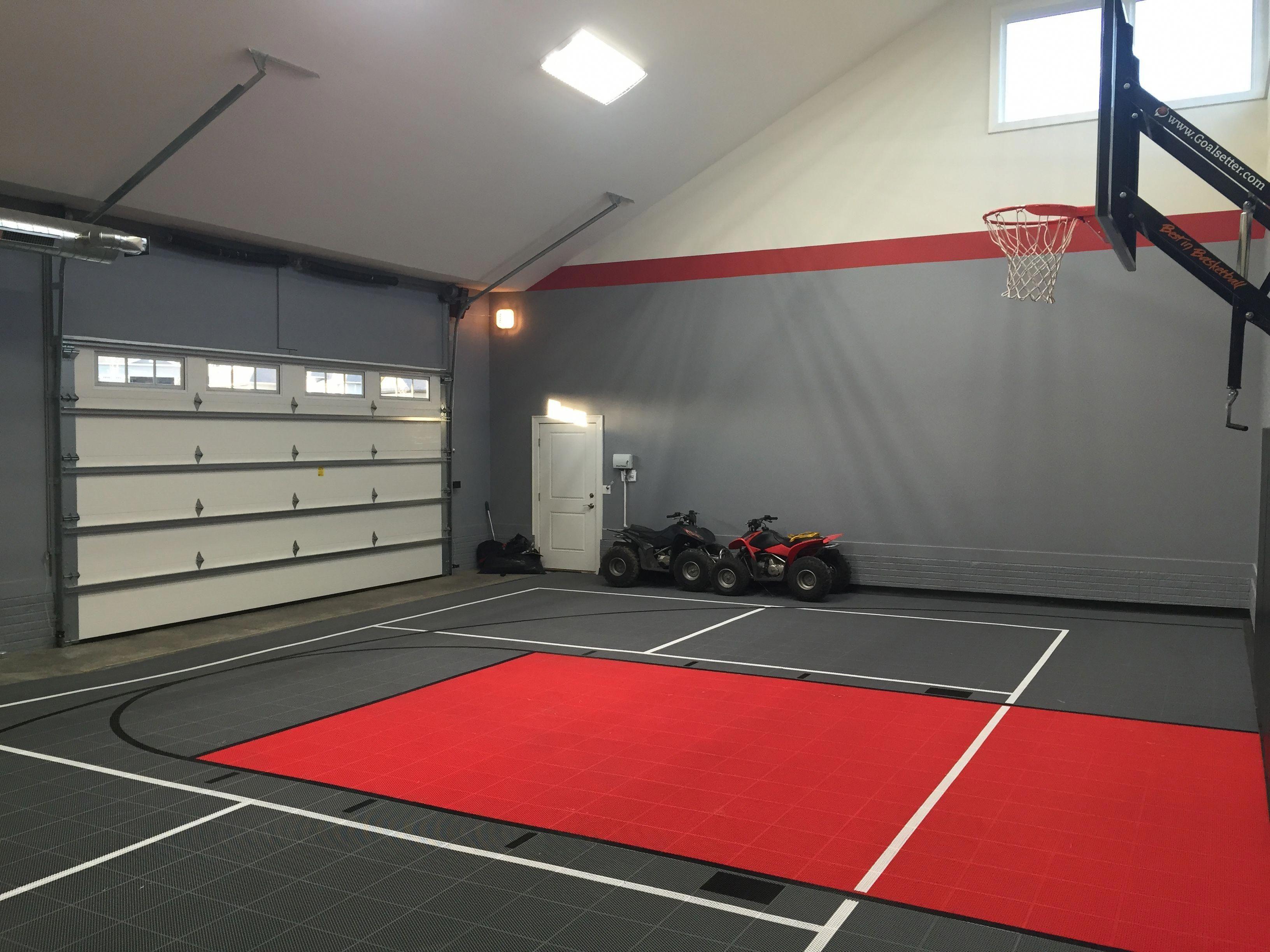 Garage Gym Sport Court Outdoorbasketballcourt Home Basketball Court Home Gym Garage Indoor Basketball Court