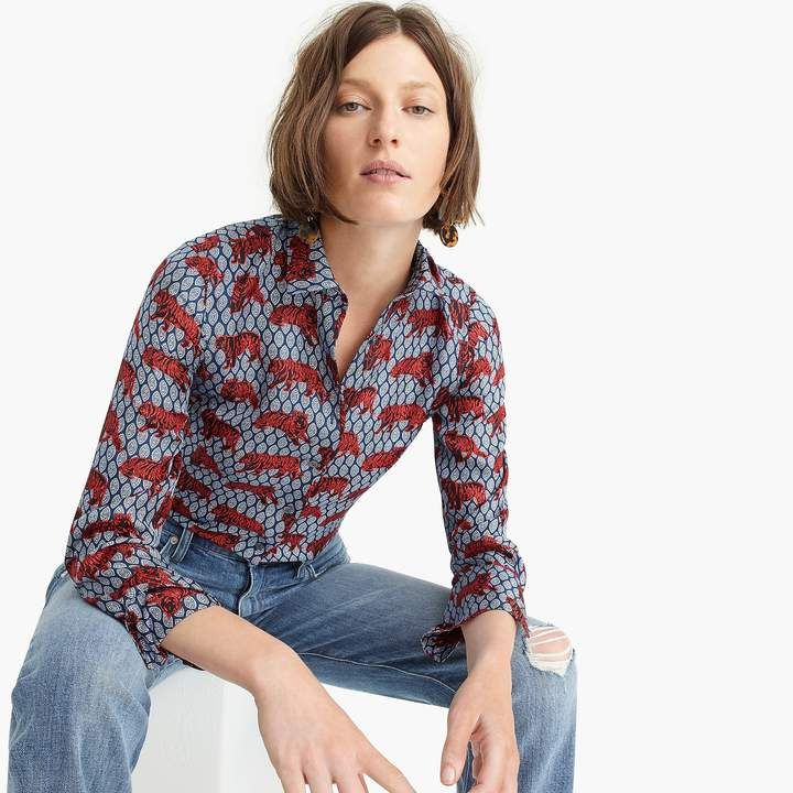 353c0cc17ba75a J.Crew Collection silk twill button-up in roaming tiger print ...