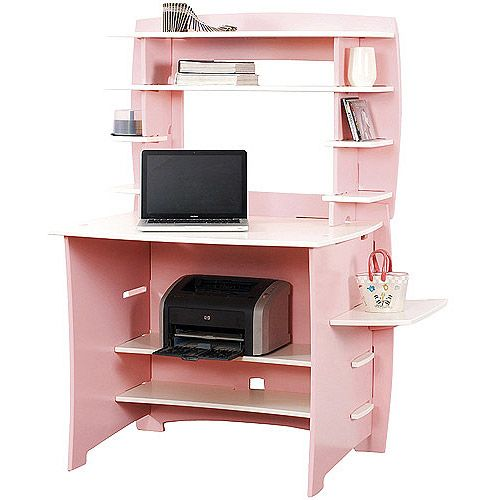 No Tools Assembly - Desk with Hutch, Pink and White - No Tools Assembly - Desk With Hutch, Pink And White Pink Desk