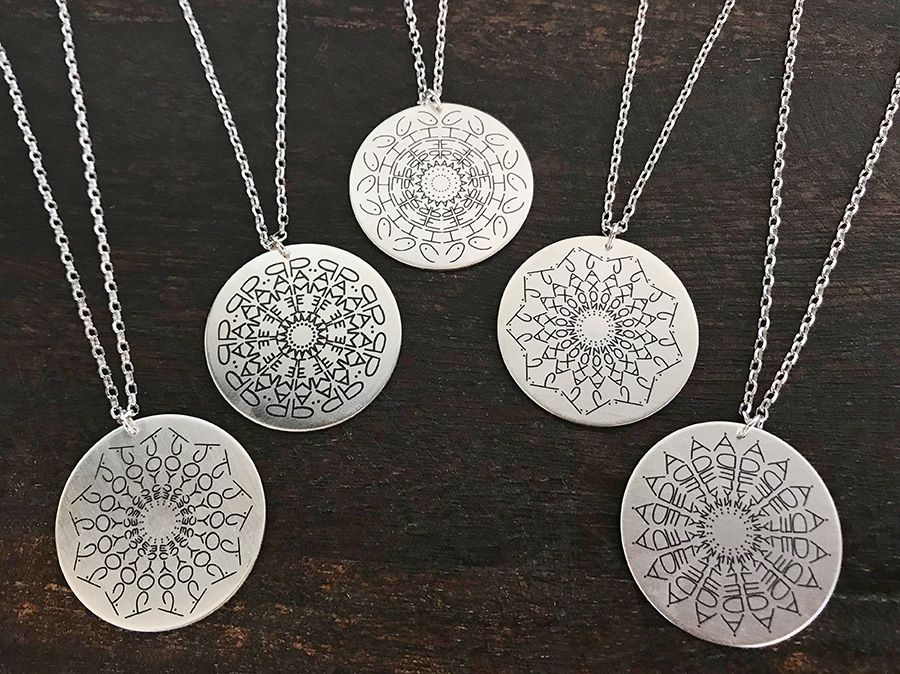 This Mandala Name Necklace is made of sterling silver and can be customized  to your name. Pendant diameter can vary from 1