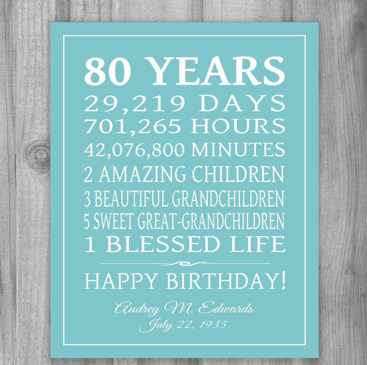 Printable 80th birthday gift 80 years sign personalized gift art birthday gift keepsake or any year celebrate your loved ones birthday with this special gift using your words negle Image collections
