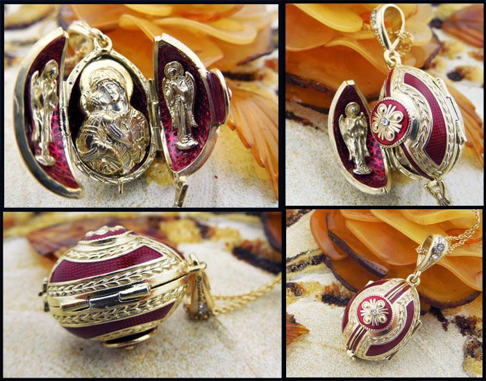 """Madonna and Child"", Sterling Silver, Gold Gilded Egg Pendant Locket"
