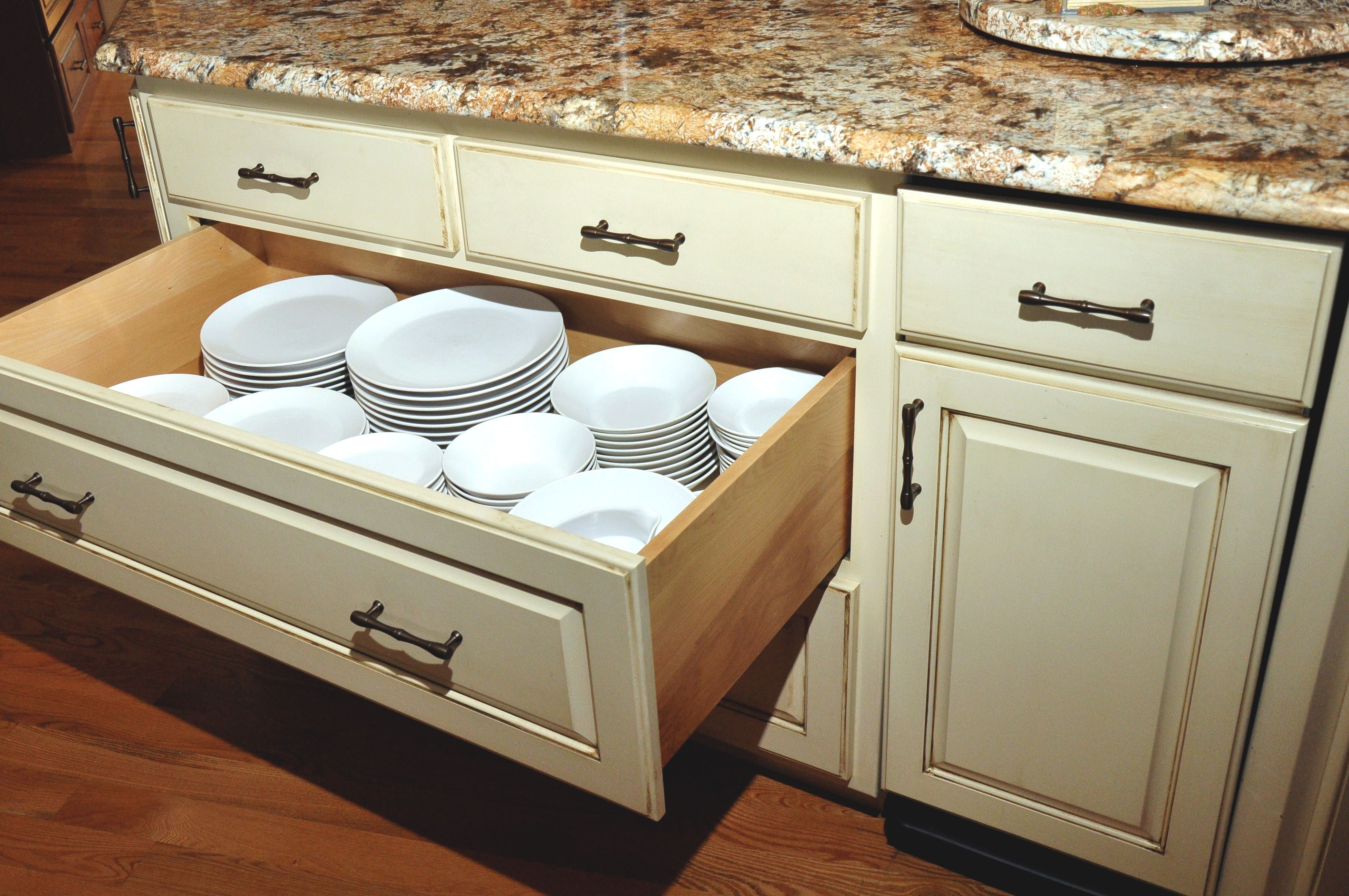 Lacking Upper Storage Use A Peg System To Store Your Dishes In A Large Drawer Custom Storage Storage Storage Design