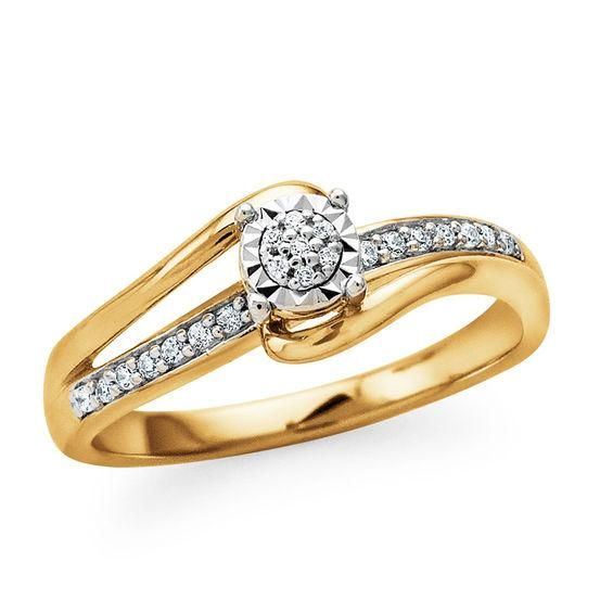 Zales 1/10 CT. T.w. Composite Diamond Teardrop-Shaped Bypass Ring in Sterling Silver with 14K Gold Plate aM9KXLVlv