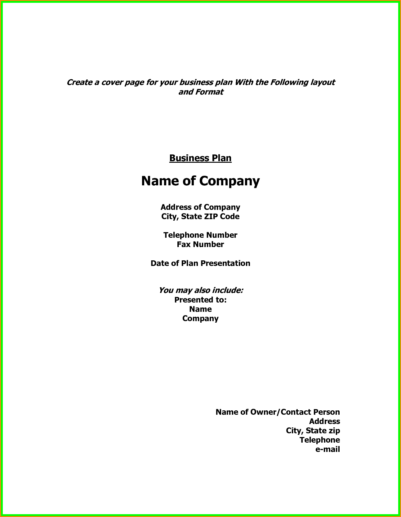 Show Example Cover Page Business Plan Ver Letter Sample