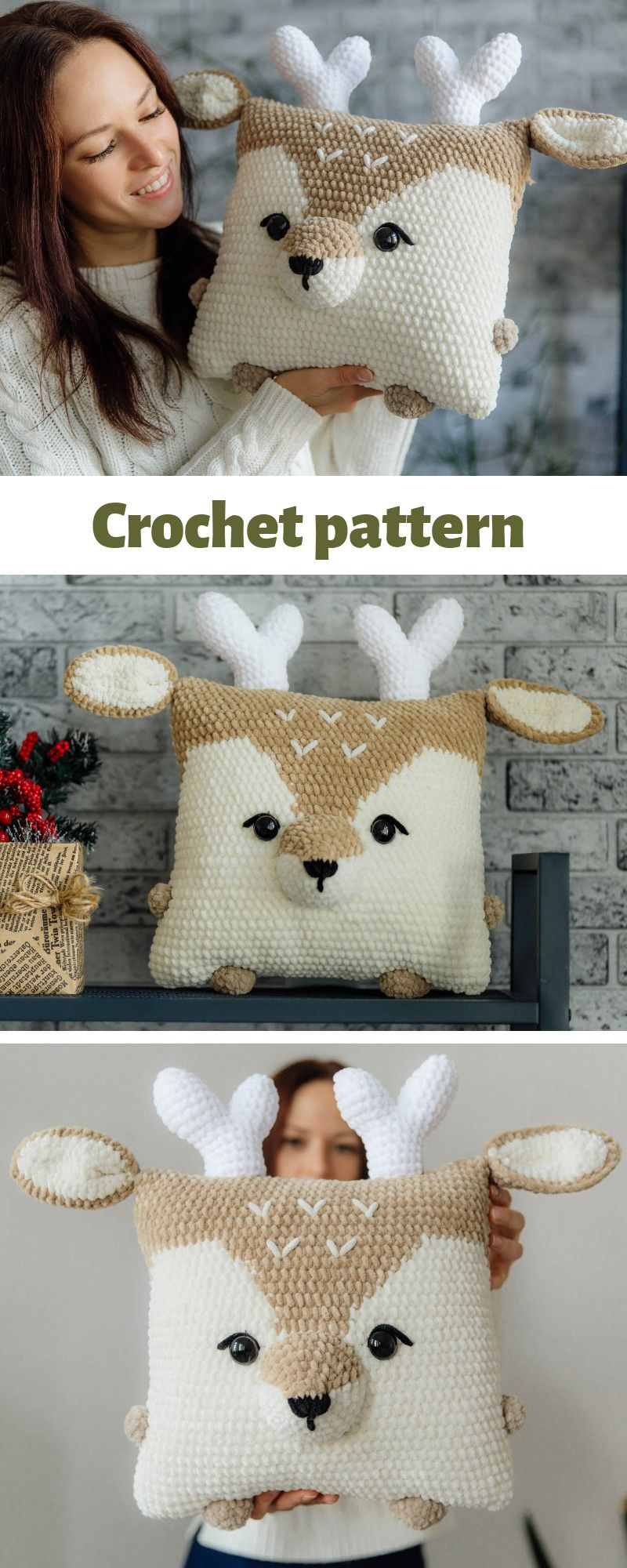 Crochet pattern raindeer, crochet deer pattern, crochet christmas deer, crochet pillow pattern, deer