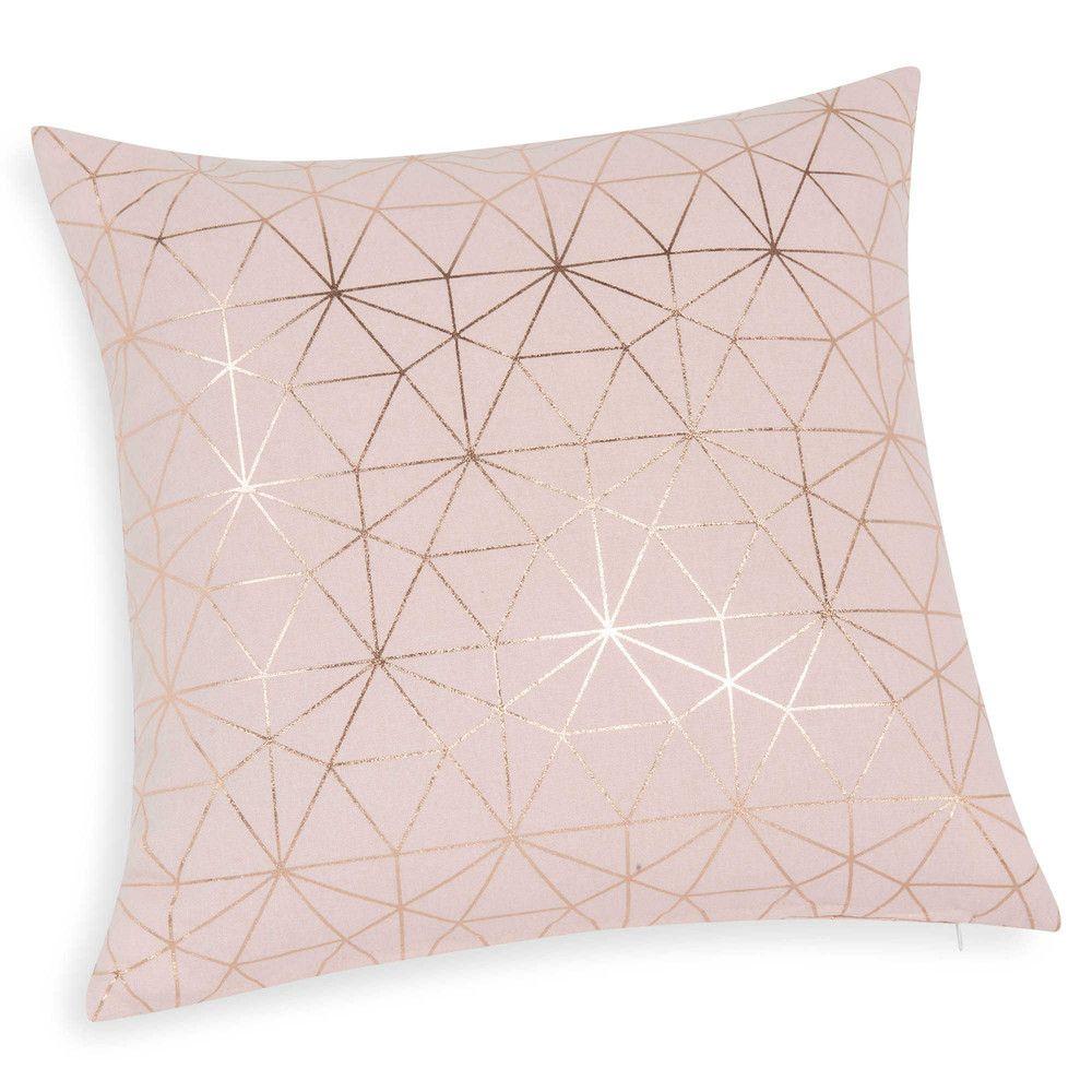 Pink Cotton Cushion Cover 40 X 40 Cm Maisons Du Monde Pink Bedroom Decor Rose Gold Bedroom Rose Gold Room Decor