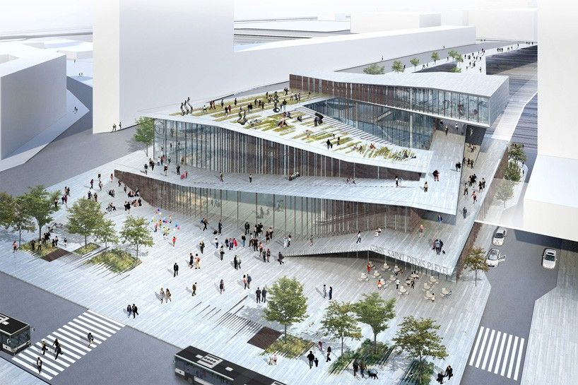 kengo kuma unveils railway station for the grand paris express is part of Ramps architecture - japanese architect kengo kuma has unveiled plans for the 'saintdenis pleyel railway station' in paris  the main hub of the city's new rapid transit line