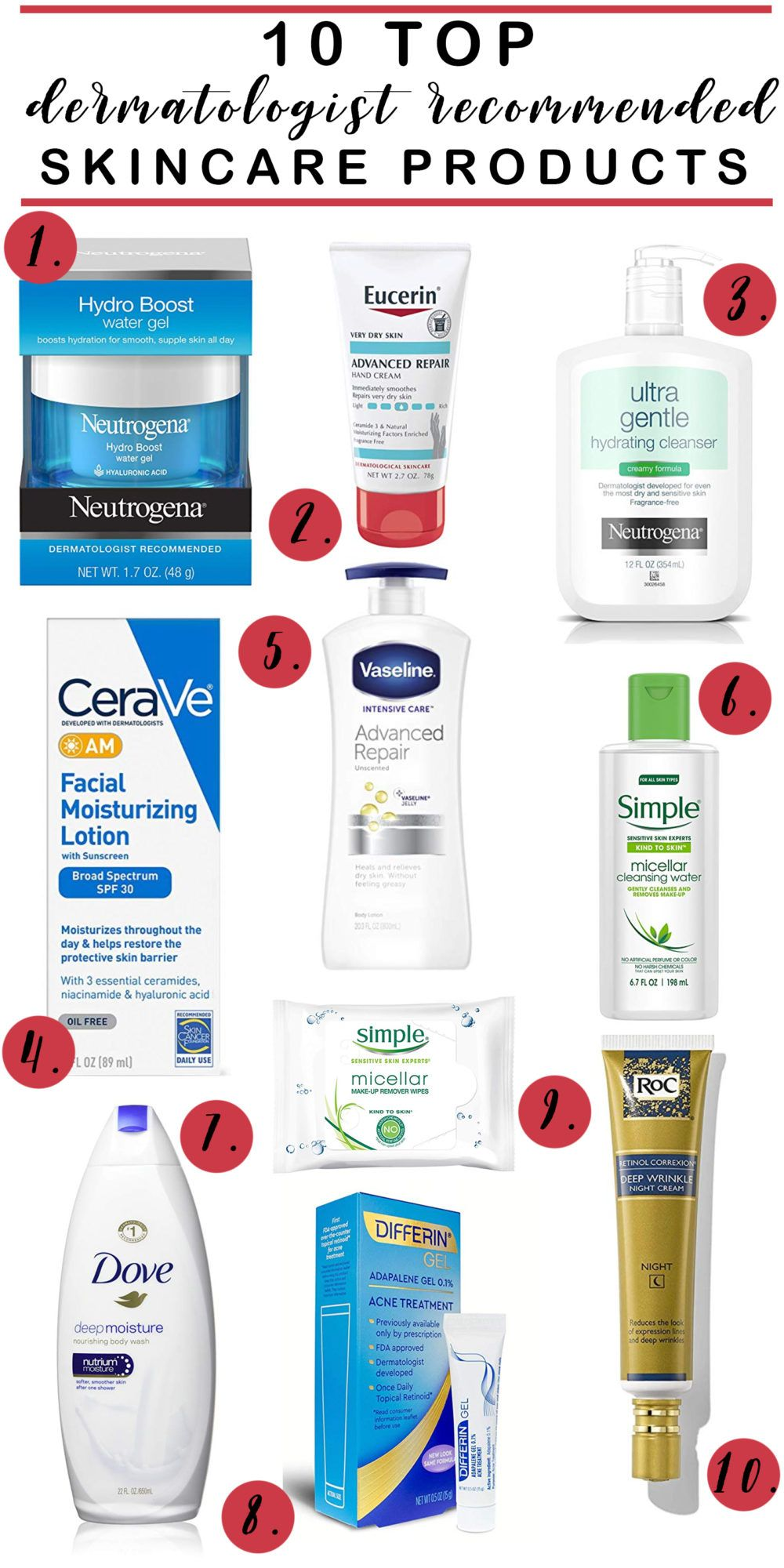 10 Top Dermatologist Recommended Drugstore Skincare Products In