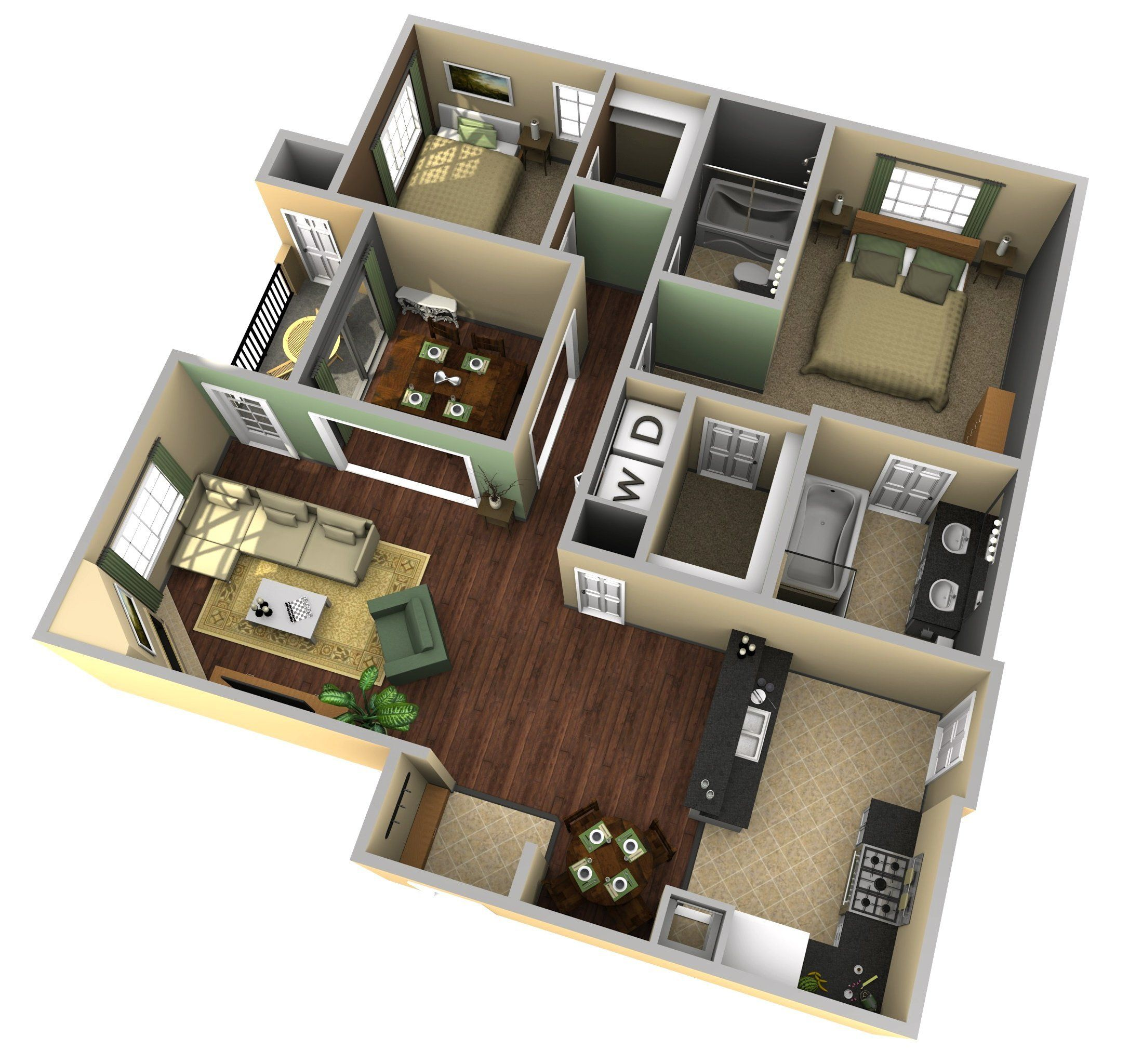 Create a 3d floor plan model from an architectural for Apartment design ppt