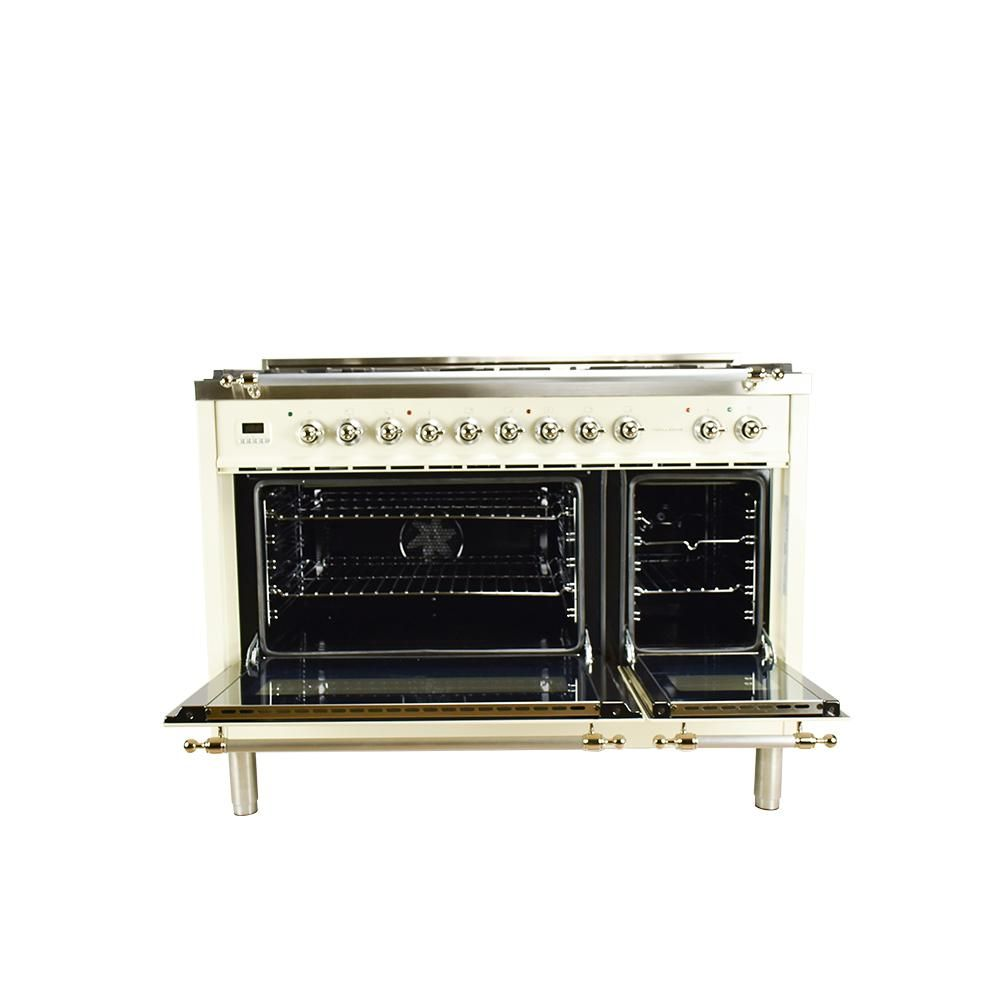 Hallman 48 in  5 0 cu  ft  Double Oven Dual Fuel Italian Range with