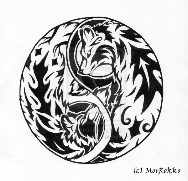 Awesome Tribal Wolves Yin Yang Tattoo Design | Symbols - ABC ...