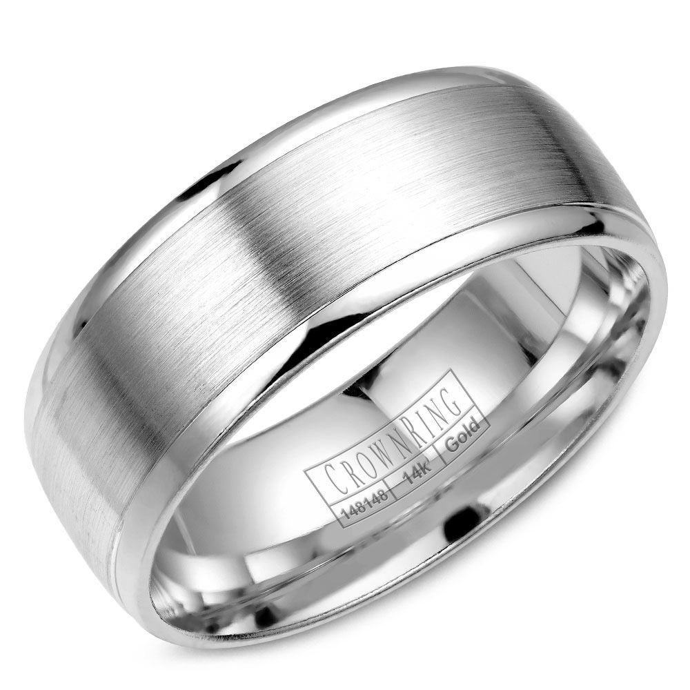 8mm Polished Drop Edge Wedding Band with Brushed Center