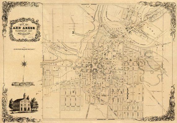 Ann Arbor Old City Plan Restored Map Vintage Maps Pinterest - Ann arbor map