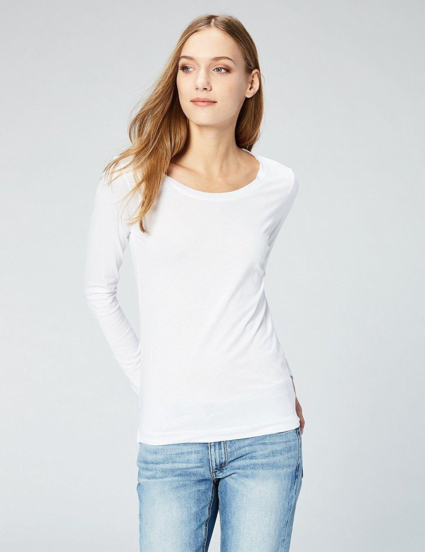 b9430d244e Women's Clothing, Tops & Tees, Knits & Tees,Women's Lightweight 100% Supima  Cotton Long-Sleeve Scoop Neck T-Shirt- 2-Pack - Black/White - CS183W88EL8  ...