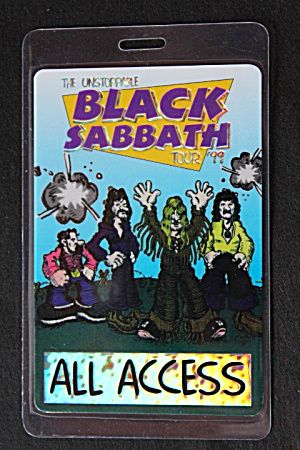 Black Sabbath Laminated All Access Backstage Pass 1999 The