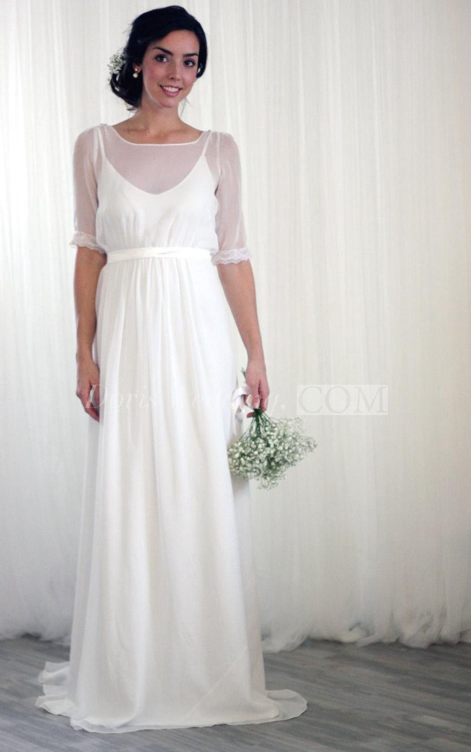 Casual wedding dress with sleeves  Half Sleeve Bateau Neck ALine Chiffon Dress With Keyhole Back